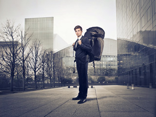 businessman with backpack Wall mural