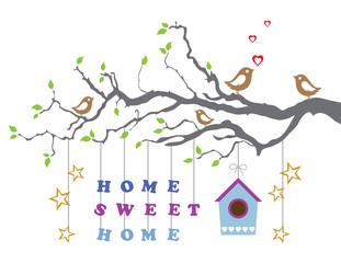 Staande foto Vogels in kooien Home sweet home moving-in new house greeting card