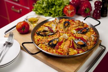Spanish seafood rice paella