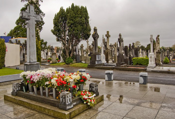 Wall Murals Cemetery Michael Collins's grave, at Glasnevin Cemetery, Dublin, Ireland