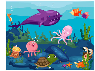 seascape underwater animals life