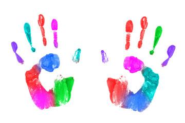 Empreintes de mains multicolores