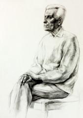 Drawing of a senior man