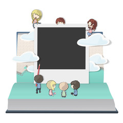 Children playing with a photo on a book. Vector design.