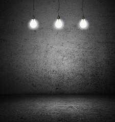 room with lightbulbs