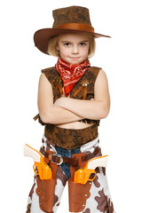 Little girl wearing cowboy costume standing with folded hands