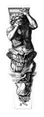 Sculpture : Man Cariatide - 17th century