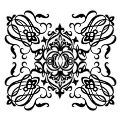 Ornamental motif with swirling decorative elements