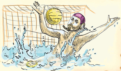water polo - hand drawing