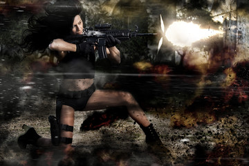 beautiful girl firing a machine gun