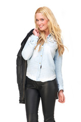 Young Blond Woman with Leather Jacket
