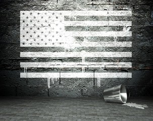 Graffiti wall with USA flag, street background