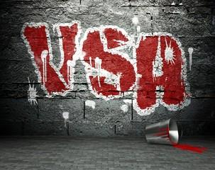 Graffiti wall with USA, street background