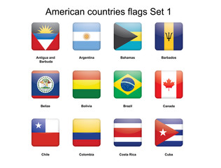 American countries buttons set 1 vector illustration