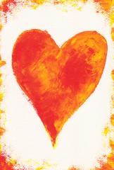 Rotes Herz mit Rahmen auf weißem Papier Acryl handgemalt