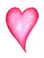 Rotes Herz auf weissem Papier Acryl handgemalt