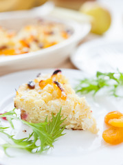 cottage cheese pudding piece on white plate