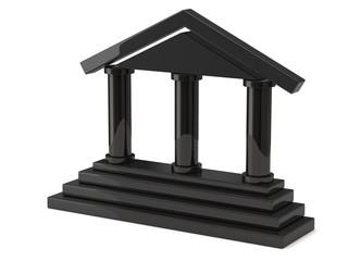 Black bank icon isolated on white background