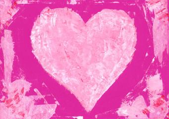 Rosa Herz auf pink Papier Acryl handgemalt