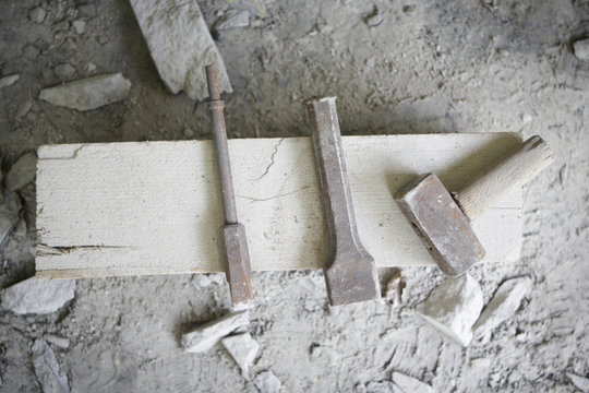 Hand tools of the stone worker.