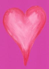 Rotes Herz auf pink Papier Acryl handgemalt