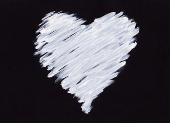 Weißes Herz auf schwarzem Hintergrund Acryl handgemalt