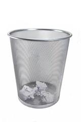 Metal bin on white background