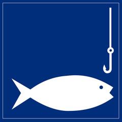 Papier Peint - Schild blau - Fischen