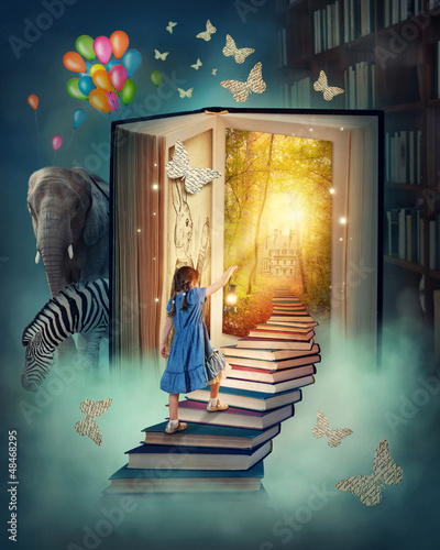 Wall mural Little girl walking up stairs