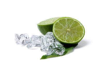 Lime and ice, isolated on white background
