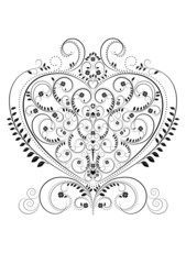 Openwork pattern in the form of heart