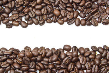 coffee beans stripes isolated in white background, with copyspac