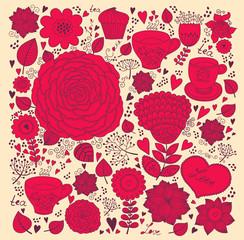 Fototapete - Vector Flower romantic greeting card