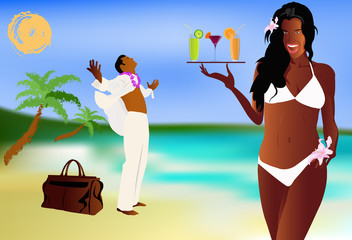 Summer romantic travel on exotic tropical island. Vector