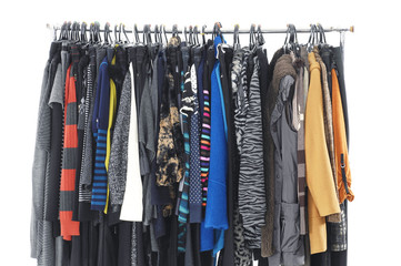 fashion female colorful clothing on display