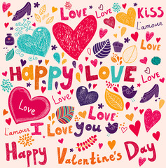 Fototapete - Vector Valentine Greeting card with flowers