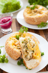 bun stuffed with mushrooms and chicken with cheese