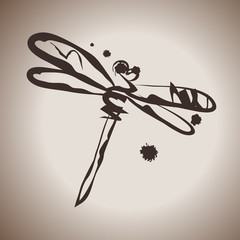 Grunge elegance ink splash illustration with dragonfly