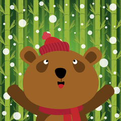 Brown bear and snow on bamboo background