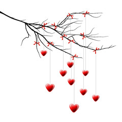 Branch with hearts, Valentine background, vector Eps10 image