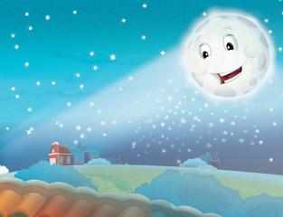 Cartoon smiling moon