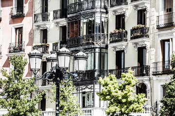 Old apartment building in Madrid,Spain.