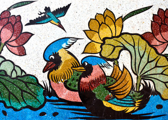 painting of duck and lotus