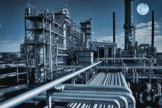 industrial moonlight, full moon over oil refinery