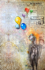 Garden Poster Imagination Grunge background with colored balloons