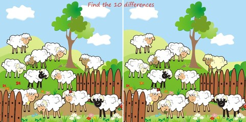 Poster Ranch sheep-find 10 differences
