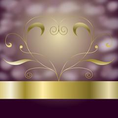 Golden Vector Ornament Heart