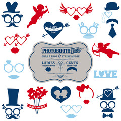Valentine's Day Party set - photobooth props - glasses, hats, li