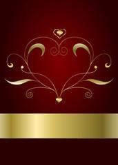 Valentinskarte in rot und gold mit Ornament