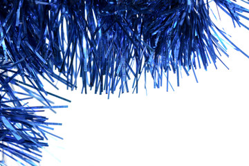 blue tinsel on a white background